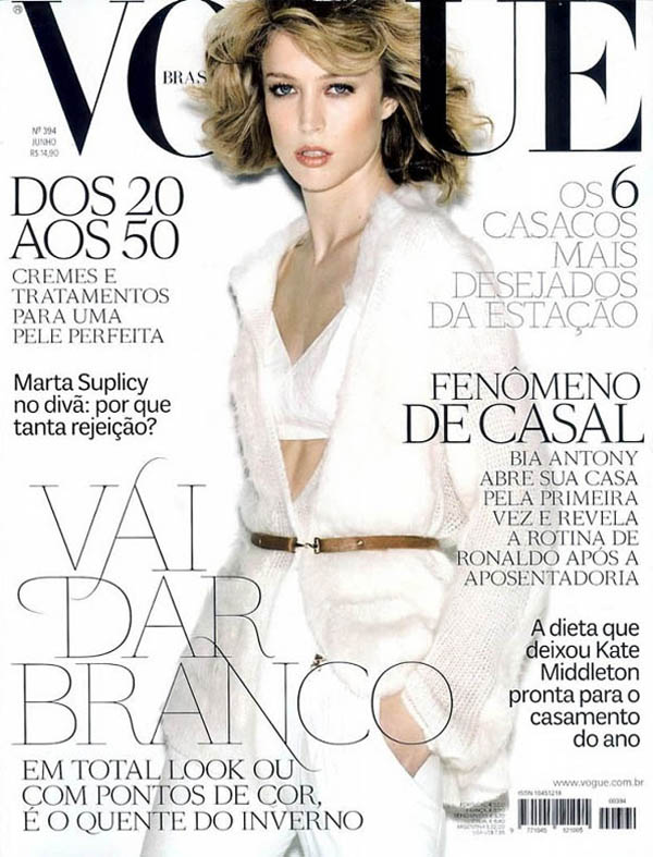 <em>Vogue Brazil</em> June 2011 Cover | Raquel Zimmermann by Henrique Gendre