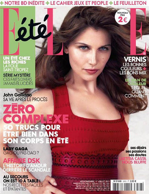 <em>Elle France</em> July 1, 2011 Cover | Laetitia Casta by Michelangelo di Battista