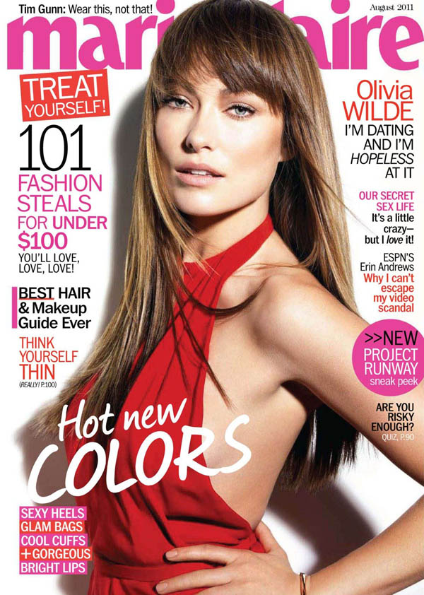<em>Marie Claire US</em> August 2011 Cover | Olivia Wilde by Tesh