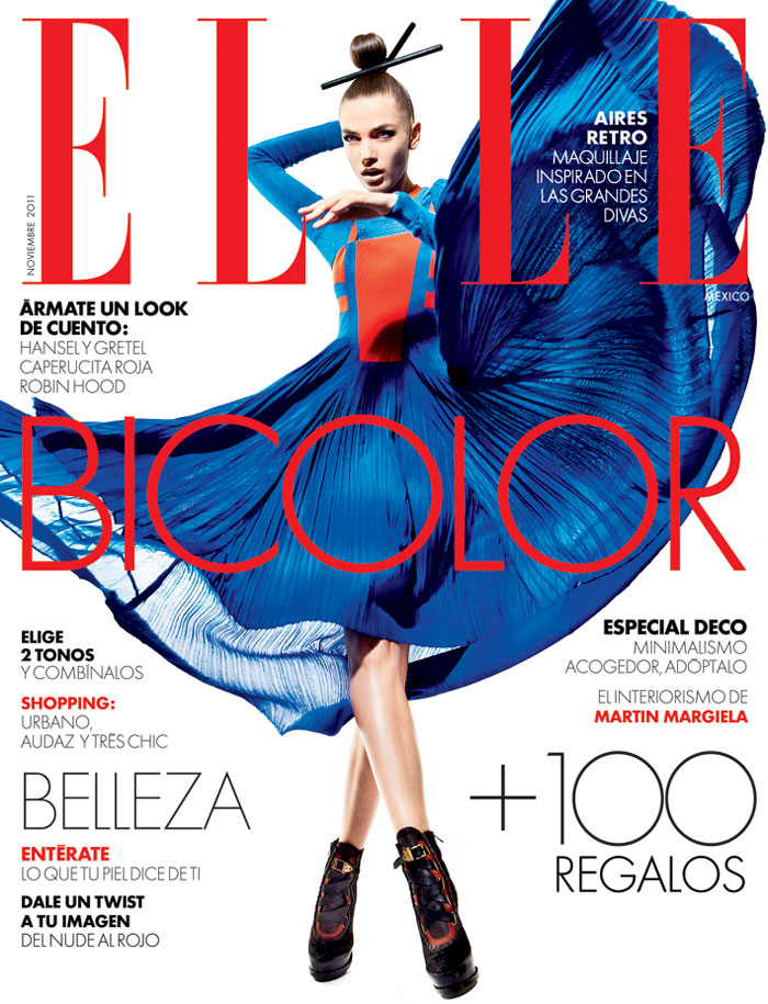 <em>Elle Mexico</em> November 2011 Cover | Daniela Mirzac by Santiago Ruisenor