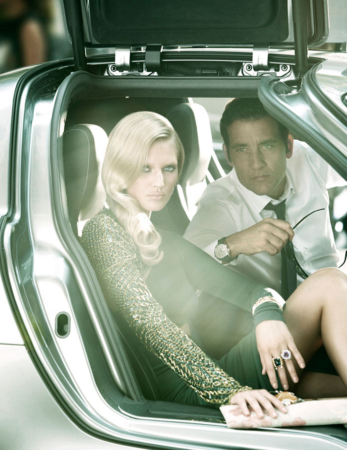 Toni Garrn &#038; Clive Owen by Alexi Lubomirski for <em>Vogue Spain</em>