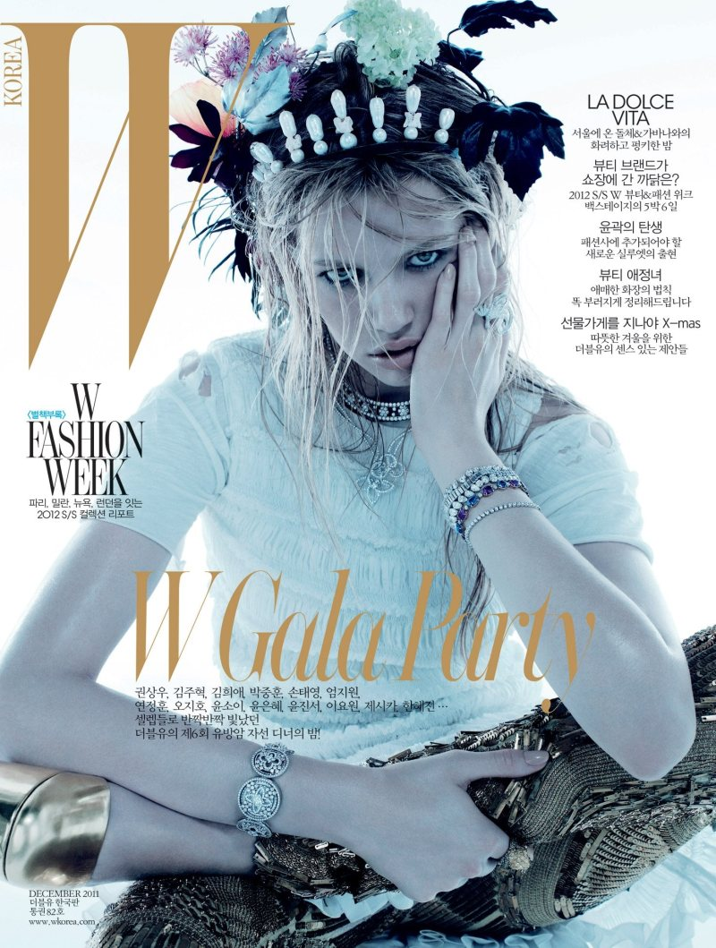 <em>W Korea</em> December 2011 Cover | Hailey Clauson by Catherine Servel