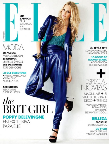 <em>Elle Mexico</em> March 2012 Cover | Poppy Delevingne by Santiago Ruiseñor