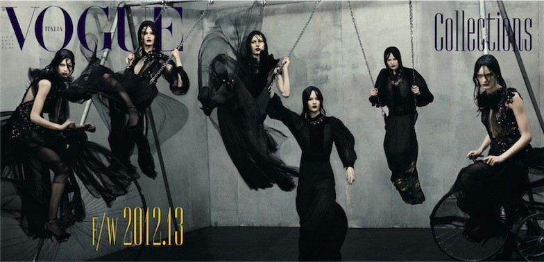 Vogue Italia's July 2012 Cover Features the Dark Glamour of Gucci by Steven Meisel