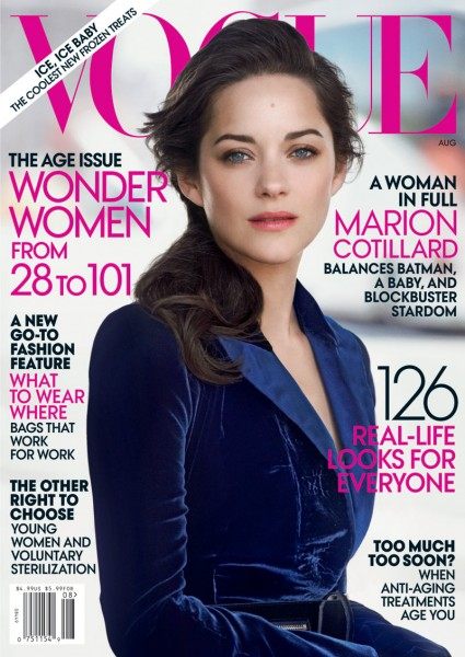 Marion Cotillard Graces the August 2012 Cover of Vogue US by Peter Lindbergh