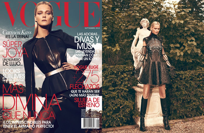 Carmen Kass is Clad in Black for Vogue Latin America's September Cover Shoot by Koray Birand