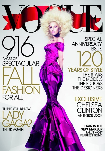 Lady Gaga Graces the September 2012 Cover of Vogue US by Mert & Marcus