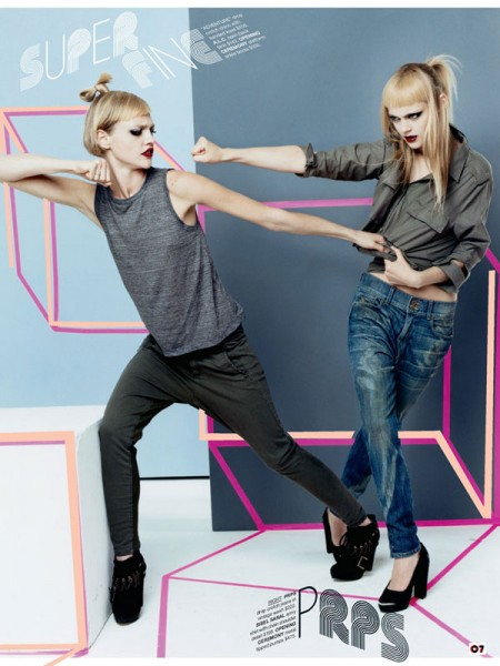 Sasha Pivovarova, Liu Wen & Viktoriya Sasonkina for Barneys CO-OP Denim Mailer