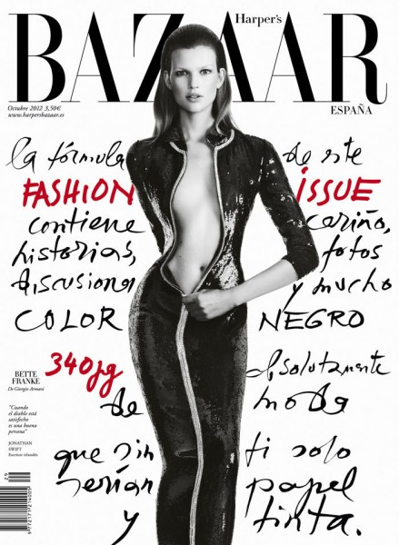 An Armani Clad Bette Franke Covers Harper's Bazaar Spain October 2012