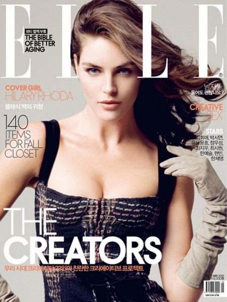 <em>Elle Korea</em> October 2010 Cover | Hilary Rhoda by Ryan Yoon