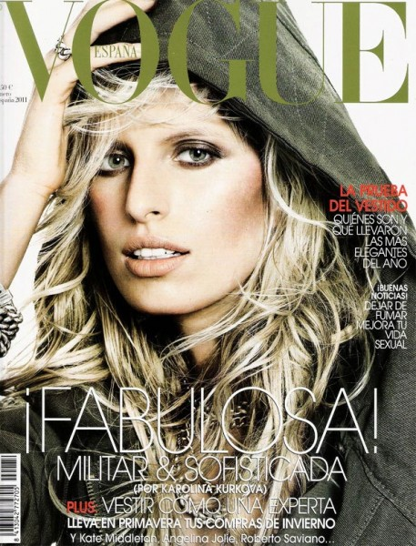 <em>Vogue Spain</em> January 2011 Cover | Karolina Kurkova by Tom Munro