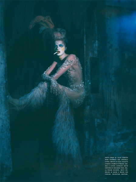 Kristen McMenamy by Paolo Roversi in The Grand Couture | <em>Vogue Italia</em> September 2010