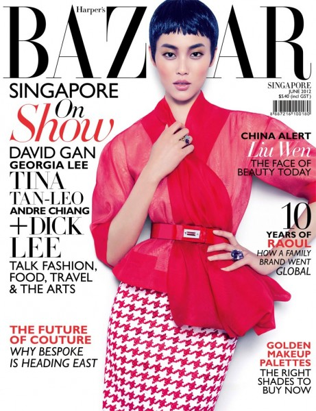 Liu Wen Covers Harper's Bazaar Singapore June 2012 in Dior Haute Couture