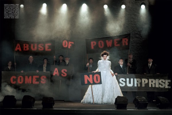 Milla Jovovich Gets Political in Haute Couture for Peter Lindbergh's Vogue Italia Shoot