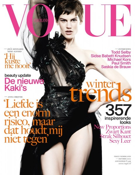 Saskia de Brauw is Glam in Gucci for Vogue Netherlands' October 2012 Cover