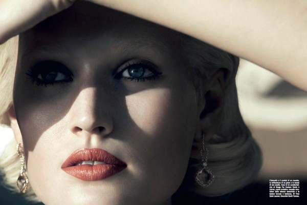 Toni Garrn by Camilla Akrans for Vogue Italia April 2012