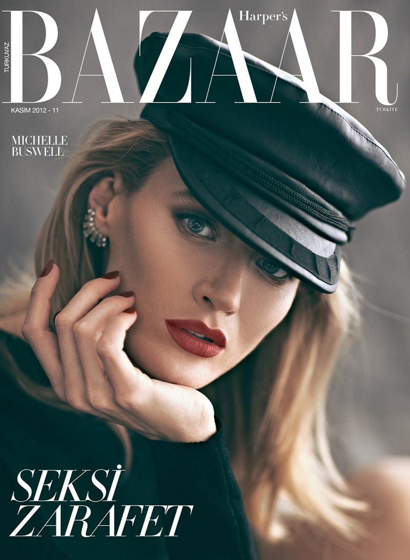 michelle buswell19 Michelle Buswell Poses for Koray Birand in Harpers Bazaar Turkeys November 2012 Cover Shoot