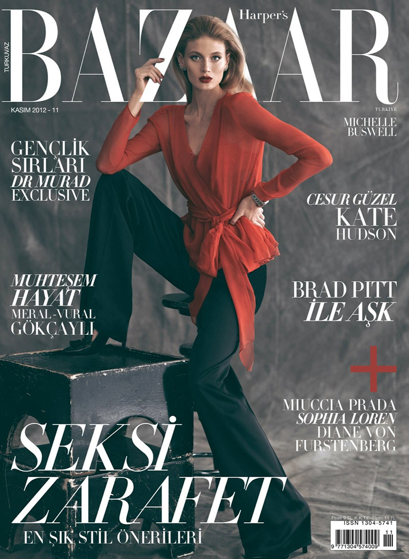 michelle buswell20 Michelle Buswell Poses for Koray Birand in Harpers Bazaar Turkeys November 2012 Cover Shoot