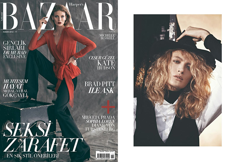 michelle buswell21 Michelle Buswell Poses for Koray Birand in Harpers Bazaar Turkeys November 2012 Cover Shoot