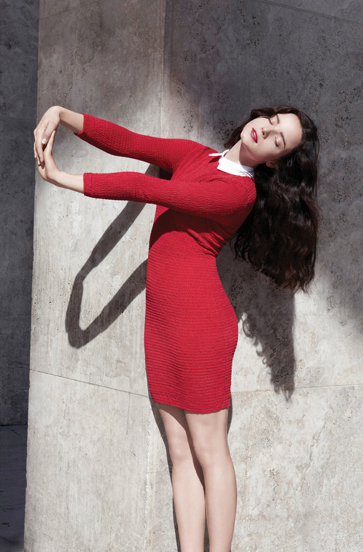 Anna de Rijk Sports Elegant Knits for the Carven x Petit Bateau Collection