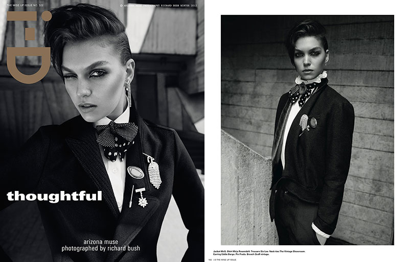 ArizonaBush Arizona Muse Sports Boyish Looks for i Ds Winter 2012 Cover Shoot by Richard Bush