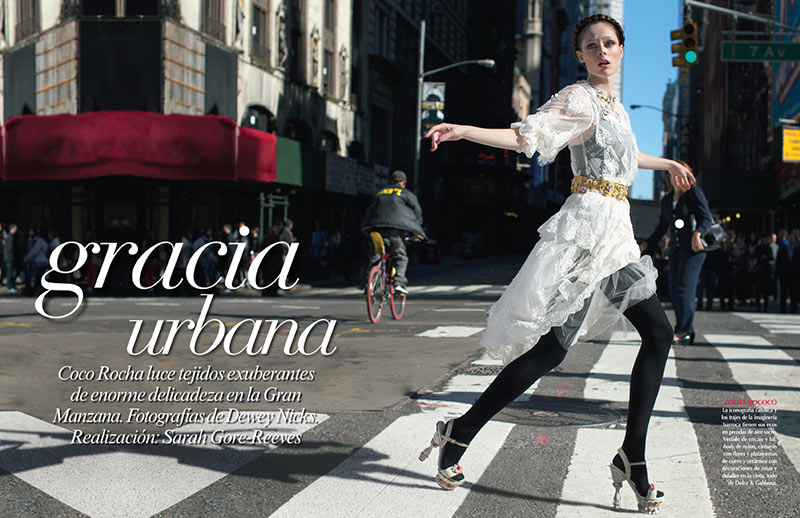 CocoVogue1 Coco Rocha Hits the Streets in Dolce & Gabbana for Vogue Mexico December 2012