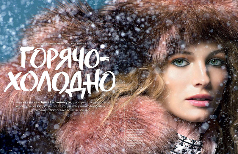 EditaWinter1 Edita Vilkeviciute is a Winter Beauty for Allure Russias December 2012 Cover Shoot by Raymond Meier