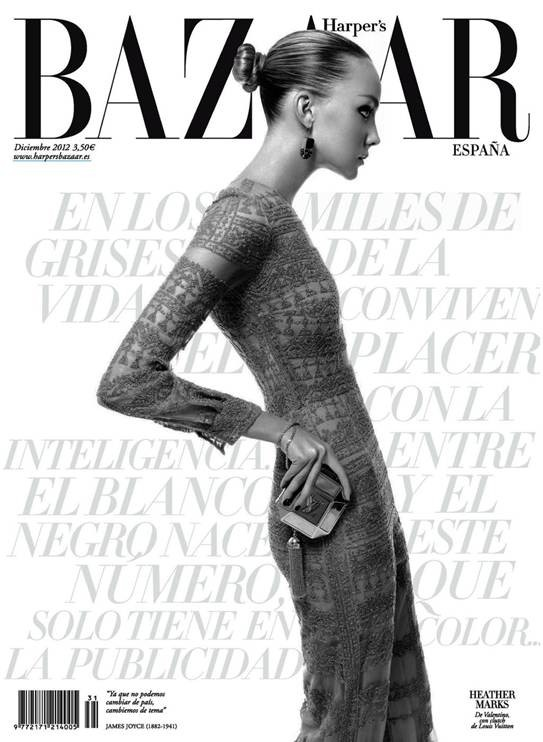 HeatherMarks10 Heather Marks Gets Chic for the Harpers Bazaar Spain December 2012 Cover Story