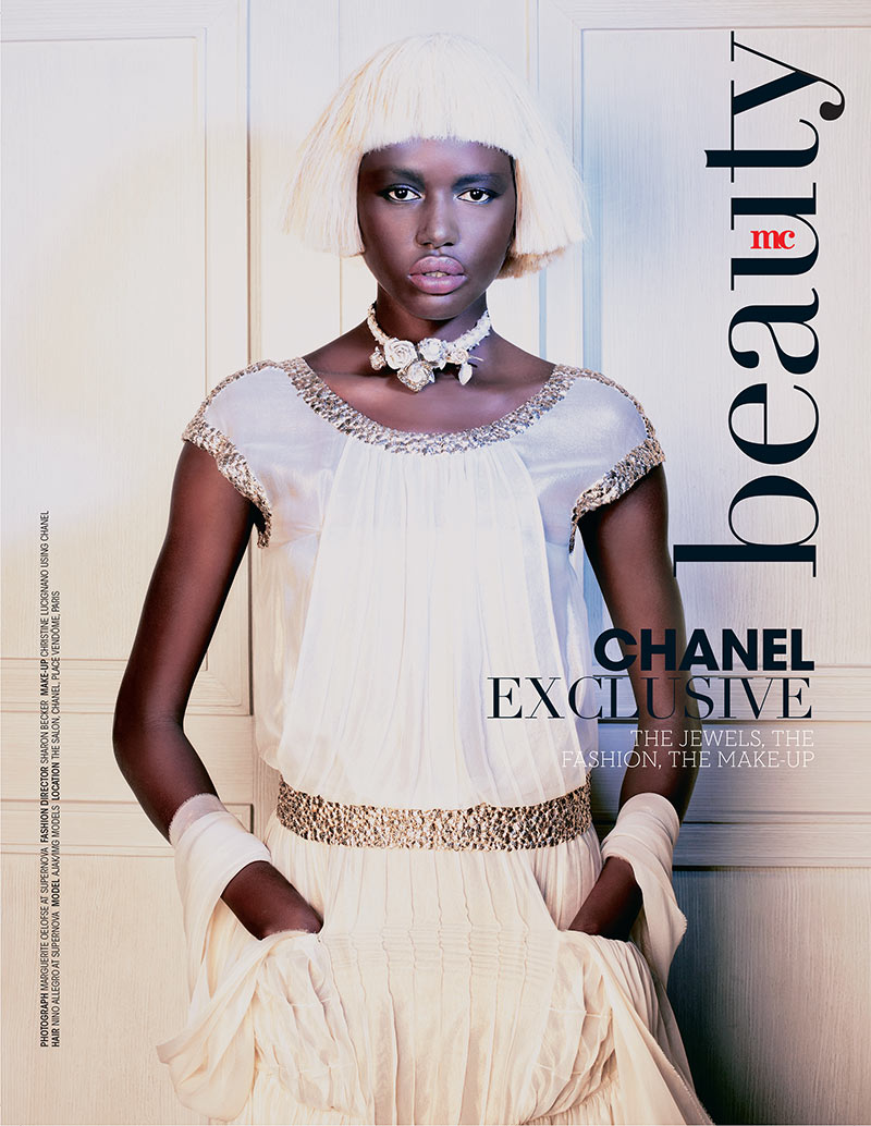 ajak deng1 Ajak Deng Dons Chanel Beauty for Marie Claire South Africas December Issue