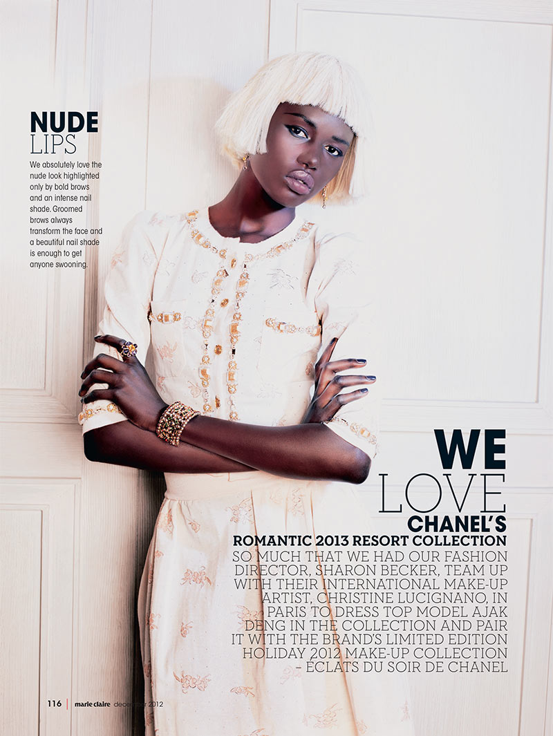 ajak deng2 Ajak Deng Dons Chanel Beauty for Marie Claire South Africas December Issue
