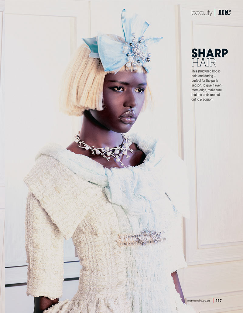 ajak deng3 Ajak Deng Dons Chanel Beauty for Marie Claire South Africas December Issue