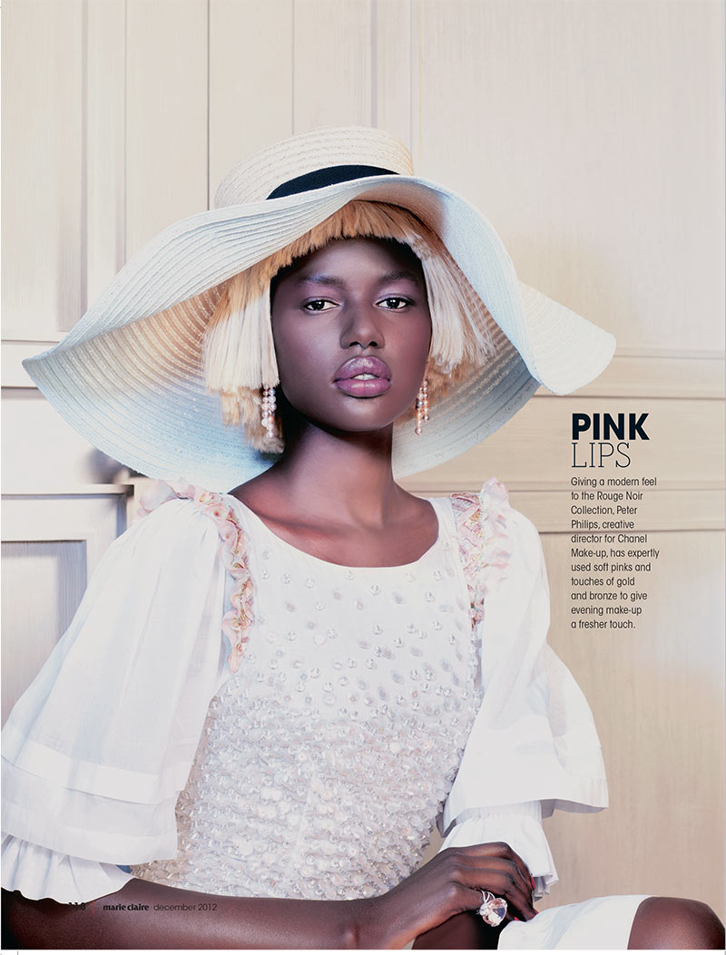 ajak deng4 Ajak Deng Dons Chanel Beauty for Marie Claire South Africas December Issue