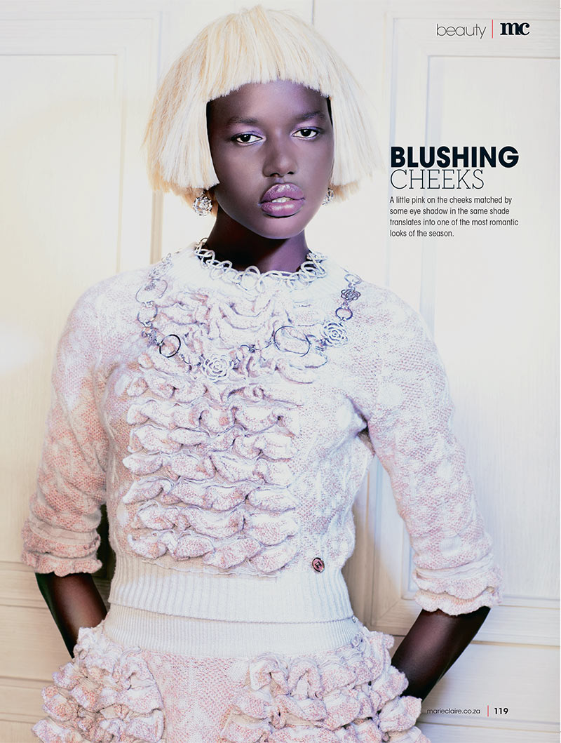 ajak deng5 Ajak Deng Dons Chanel Beauty for Marie Claire South Africas December Issue