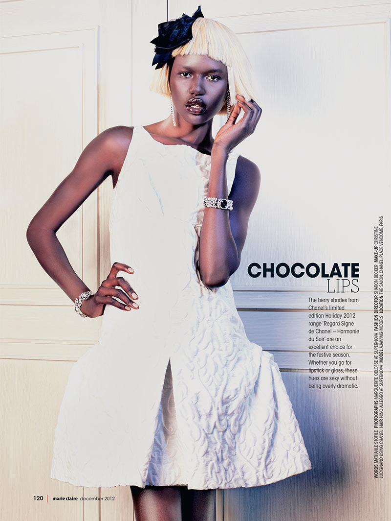 ajak deng6 Ajak Deng Dons Chanel Beauty for Marie Claire South Africas December Issue