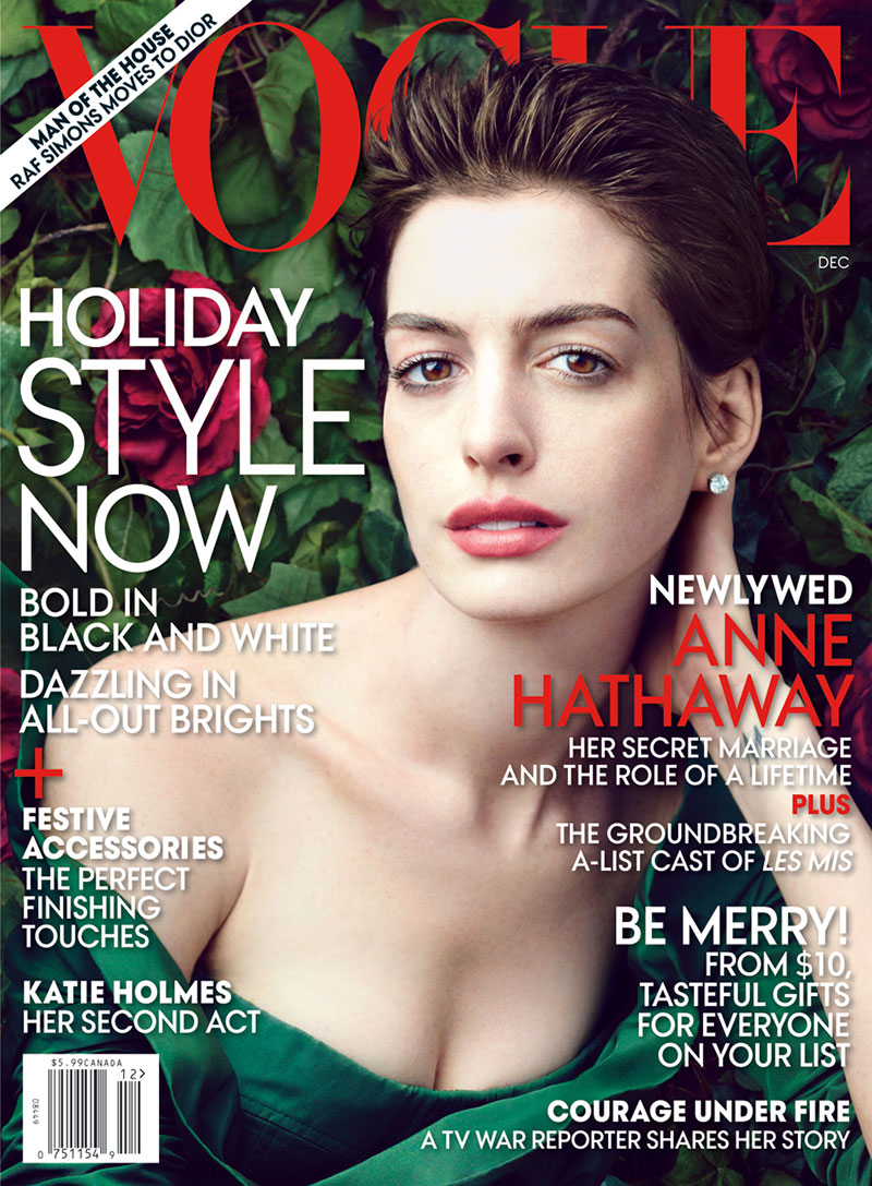 annecover1 Anne Hathaway Graces the December 2012 Cover of Vogue US