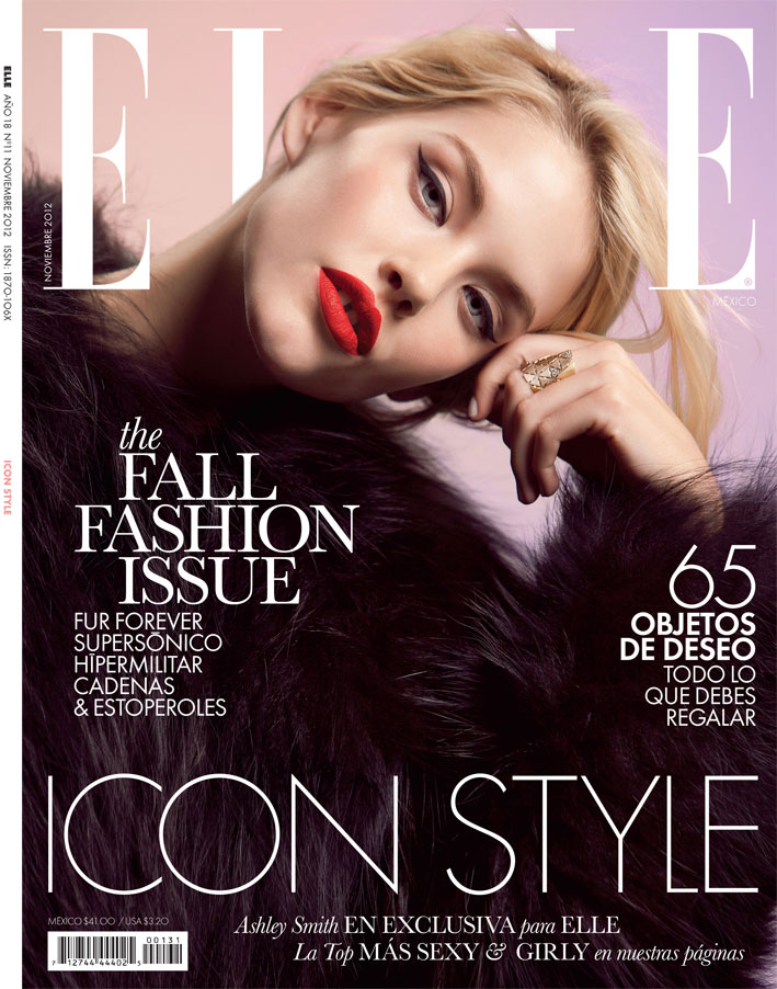 Ashley Smith Stars in the December Cover Story of Elle Mexico by Santiago Ruiseñor