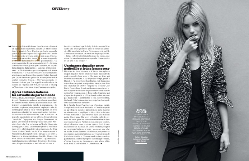 camille rowe4 Camille Rowe Covers Madame Figaro, Lensed by Eric Guillemain