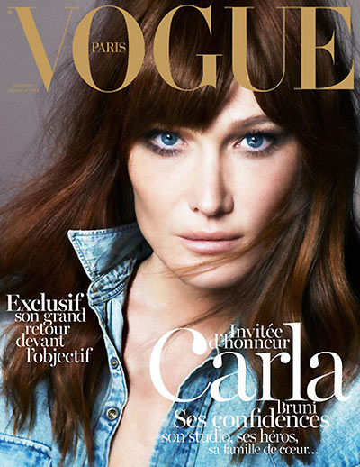 Carla Bruni Graces the December/January 2012.2013 Cover of Vogue Paris