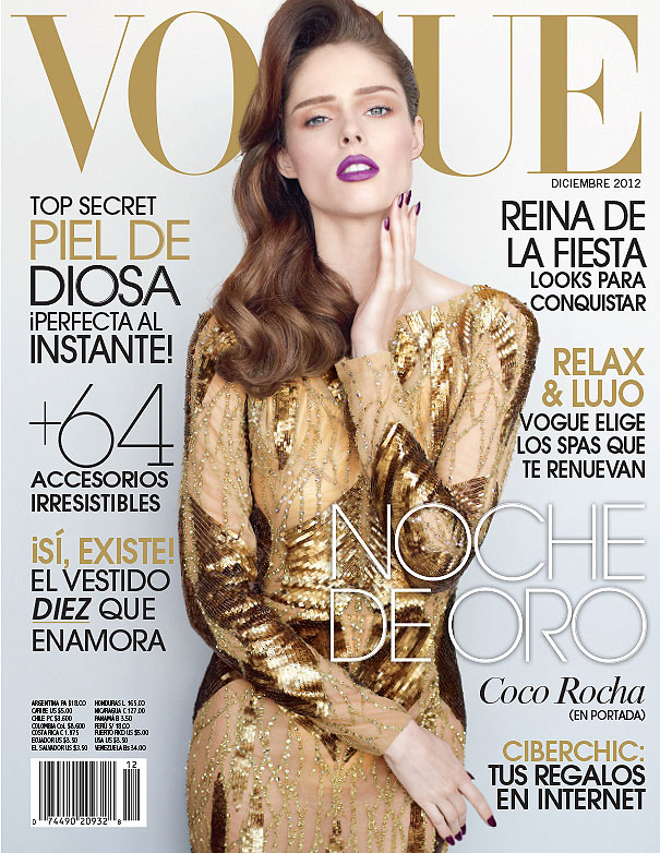 cococover1 Coco Rocha Goes for the Gold on Vogue Mexicos December 2012 Cover