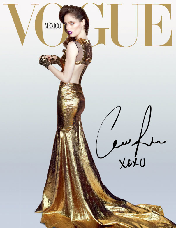 cococover2 Coco Rocha Goes for the Gold on Vogue Mexicos December 2012 Cover