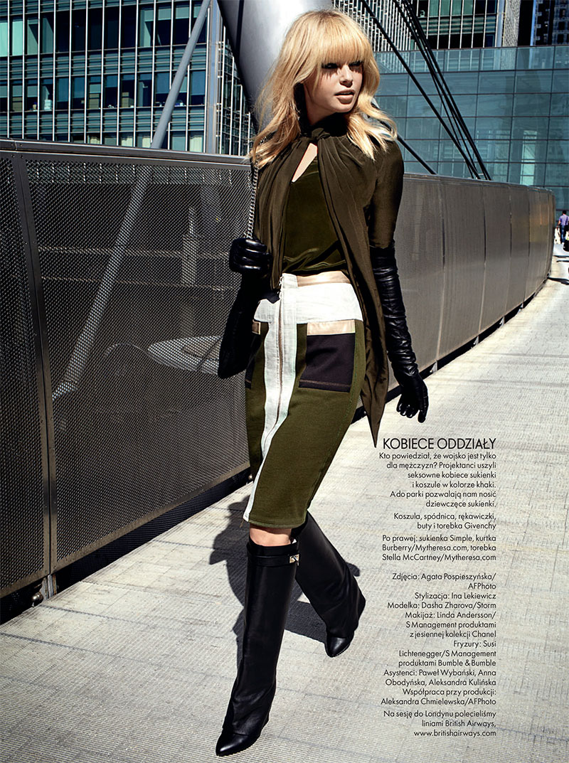 Dasha Z. Takes the Military Trend to the Streets for Elle Poland's November Issue