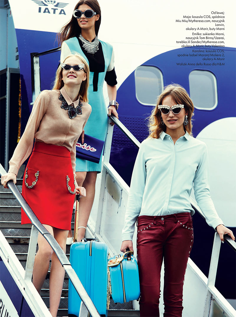 elle poland2 Emilia Nawarecka, Maja Salamon and Karolina Waz Are Jet Setters for Elle Polands November Cover Shoot
