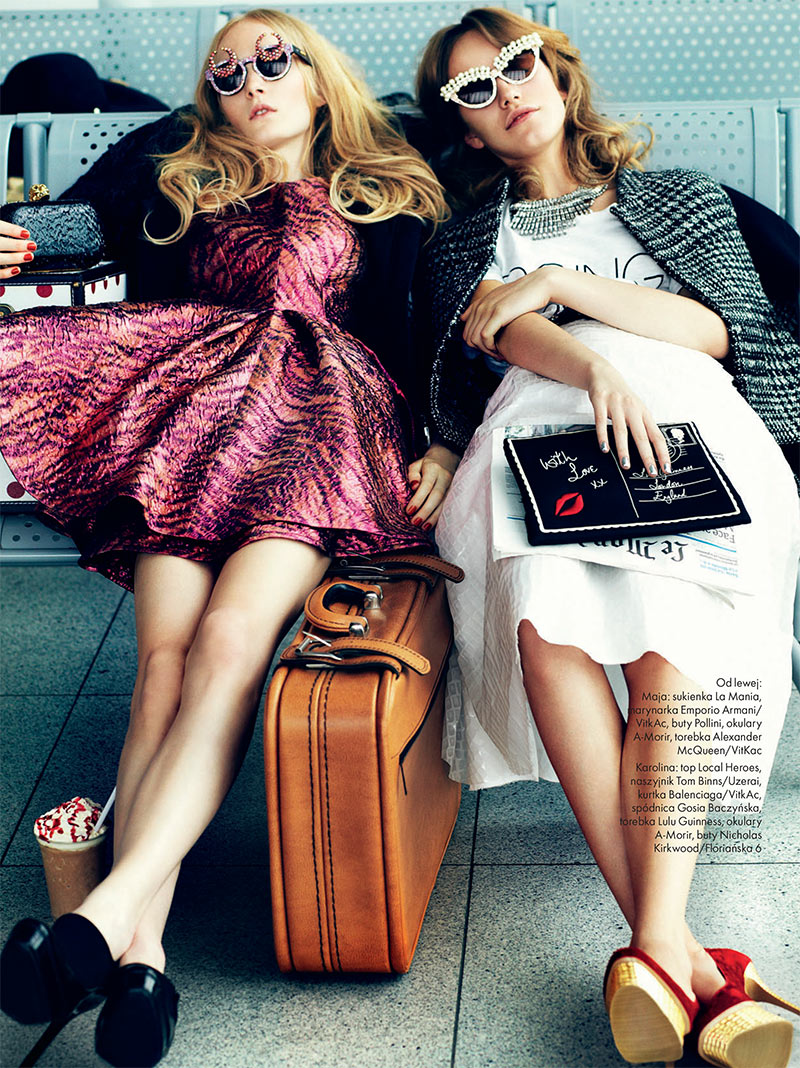 elle poland4 Emilia Nawarecka, Maja Salamon and Karolina Waz Are Jet Setters for Elle Polands November Cover Shoot