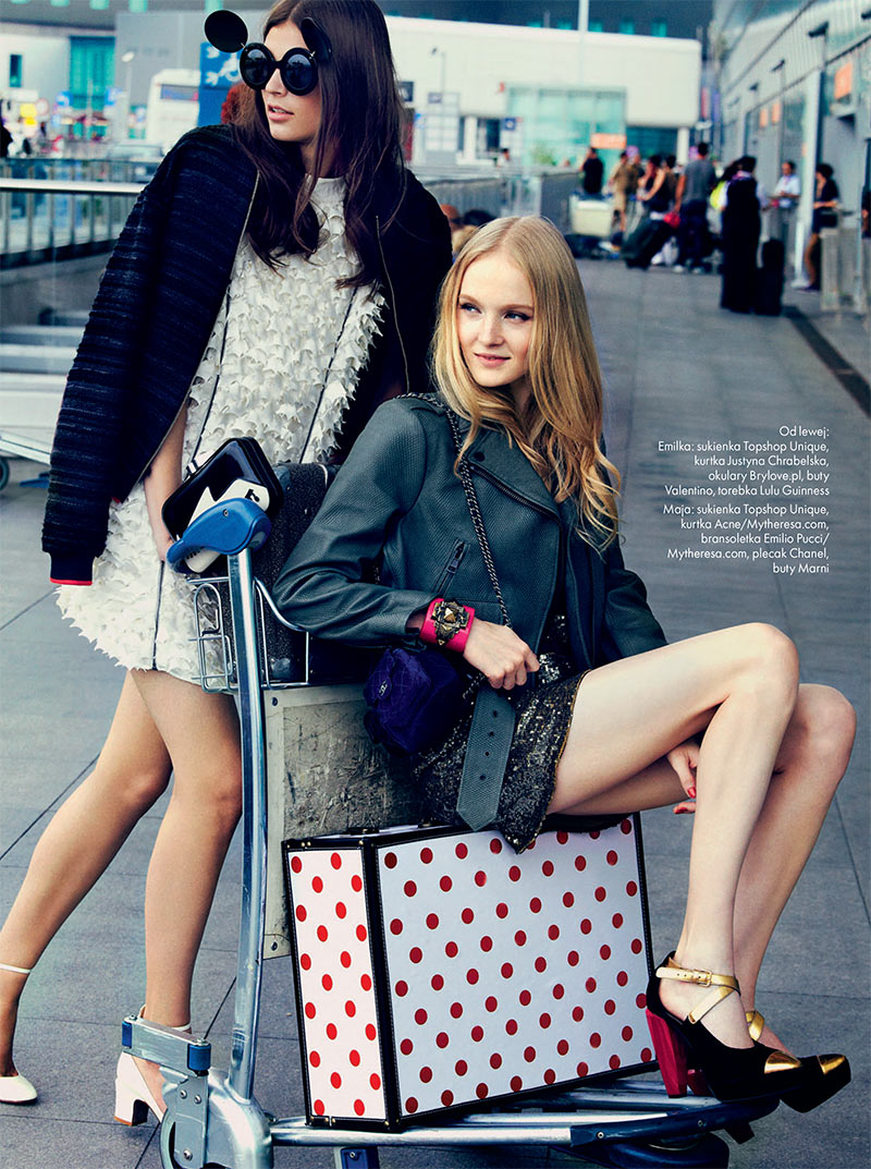 elle poland6 Emilia Nawarecka, Maja Salamon and Karolina Waz Are Jet Setters for Elle Polands November Cover Shoot
