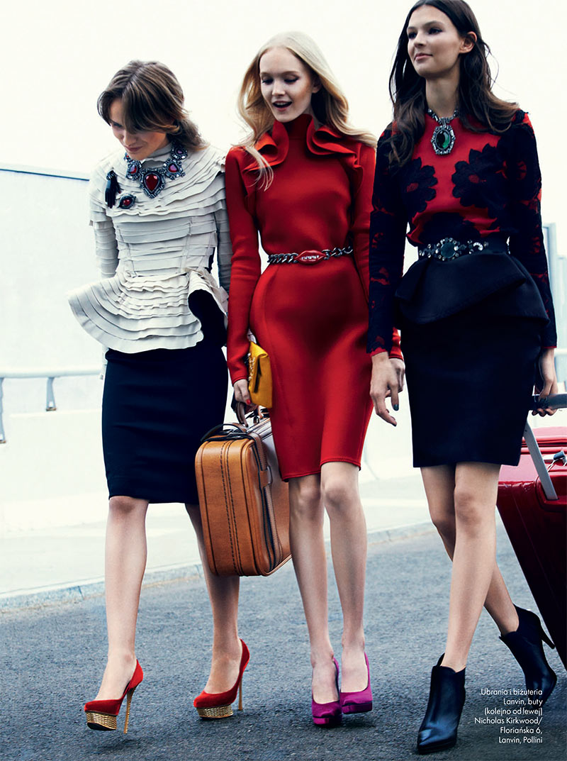 elle poland9 Emilia Nawarecka, Maja Salamon and Karolina Waz Are Jet Setters for Elle Polands November Cover Shoot