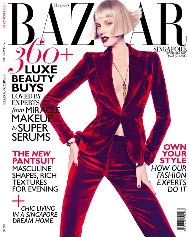 gan singapore1 Gan Shoots the November 2012 Cover of Harpers Bazaar Singapore