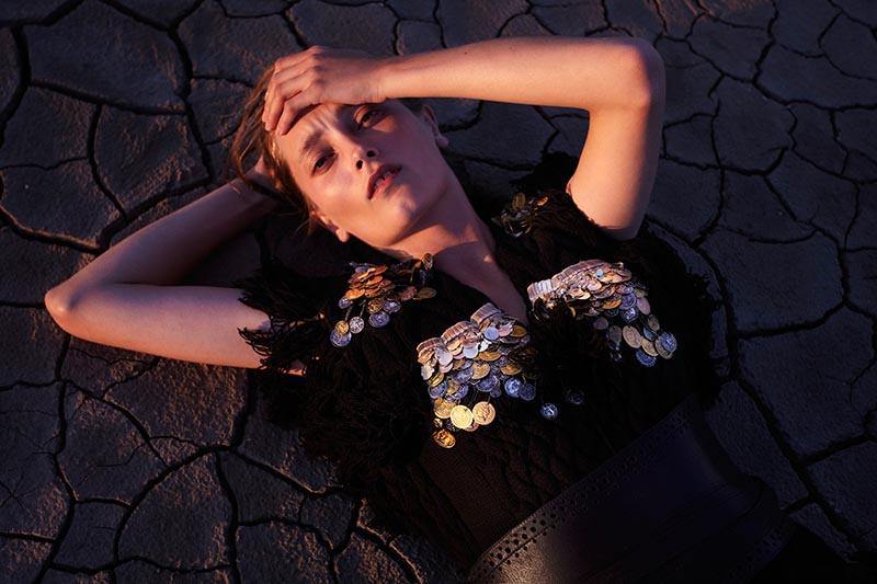 Iekeliene Stange Poses for Kerry Dean in Baku Magazine's December Issue