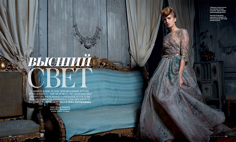 instyle1 Elena Perminova Poses in Couture for Eric Guillemains InStyle Russia Shoot
