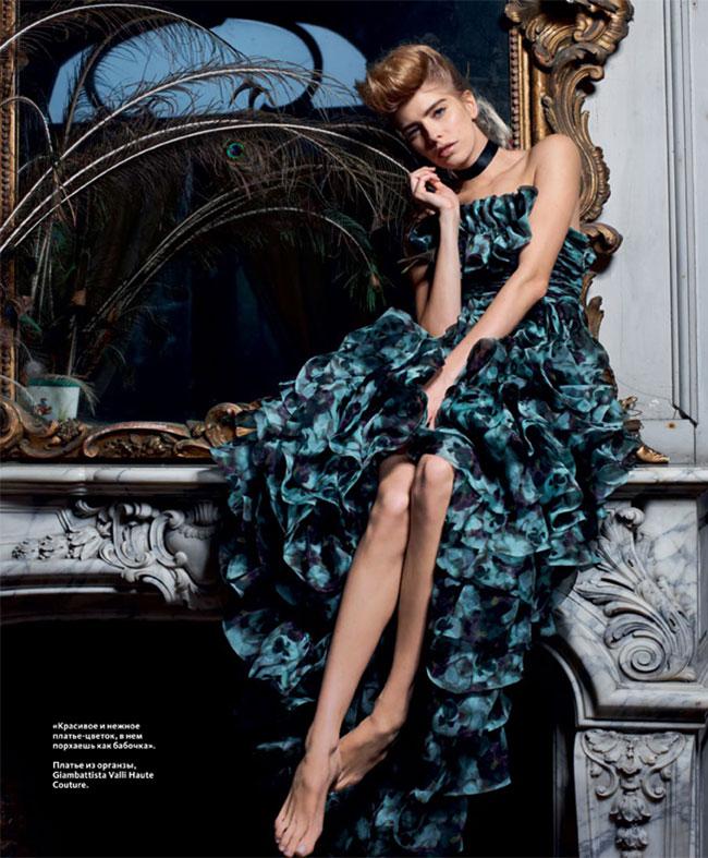 instyle7 Elena Perminova Poses in Couture for Eric Guillemains InStyle Russia Shoot
