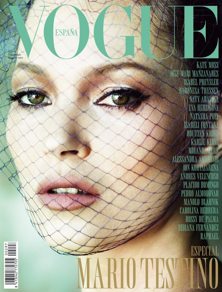 katecovervogue Kate Moss Graces the December 2012 Cover of Vogue Spain